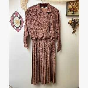 1970's Spotted & Pleated Secretary Dress